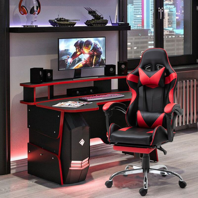Gaming Chair Office Chair Computer PU Executive Racing Recliner Back Foot Rest