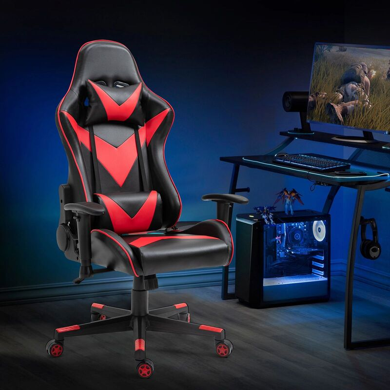 Gaming Office Chair Computer Use PU Executive Racing Recliner Backrest Armrest