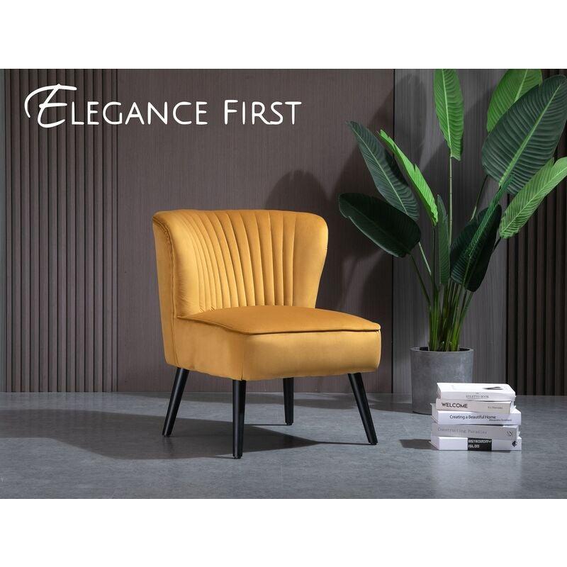 Mustard Yellow Velvet Slipper Accent Chair Lounge Chair Velvet Fabric
