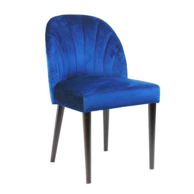Set of 2 Fabric Upholstered Dining Chairs Rubber Wood Legs Velvet Blue