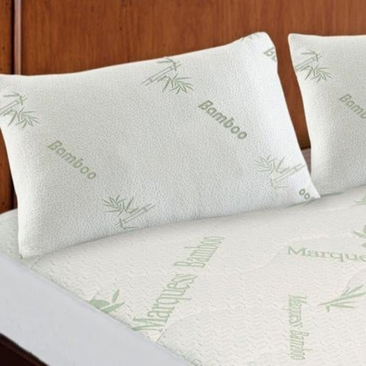 Breathable Quilted Jacquard Bamboo Mattress Protector with Optional Pillow Protectors Twin Pack