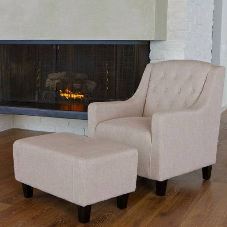 Vintage Fabric Armchair & Ottoman in Natural Linen
