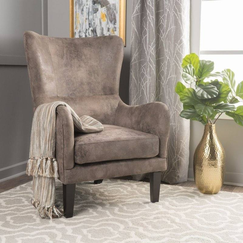 Salerno High Back Fabric Armchair in Grey Brown
