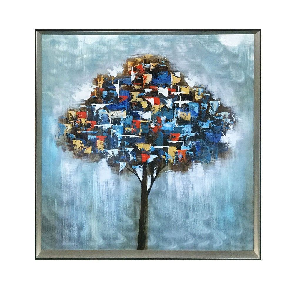 Framed Oil Painting Hand-Painted Abstract Floral / Botanical Metal Wall Art - Tree (100cm x100cm)