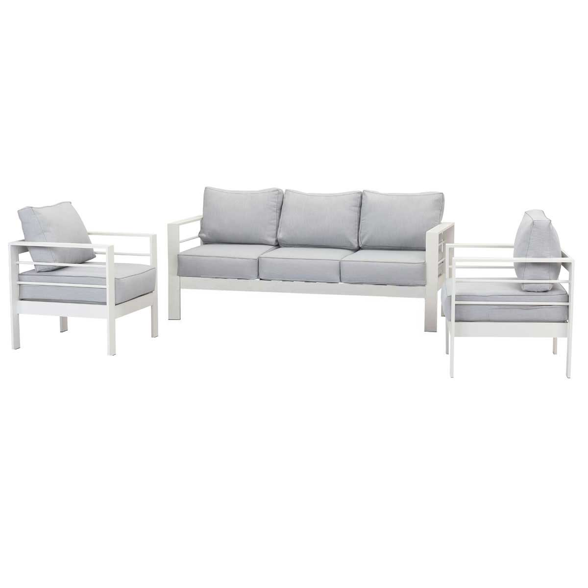 Paris 5 Seater White Aluminium Sofa Lounge - Light Grey Cushion