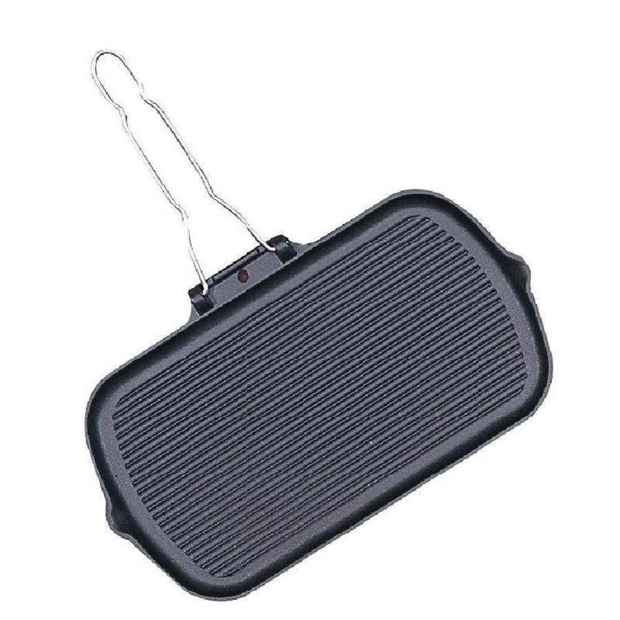 Cast Iron Grill Pan with Folding Handle