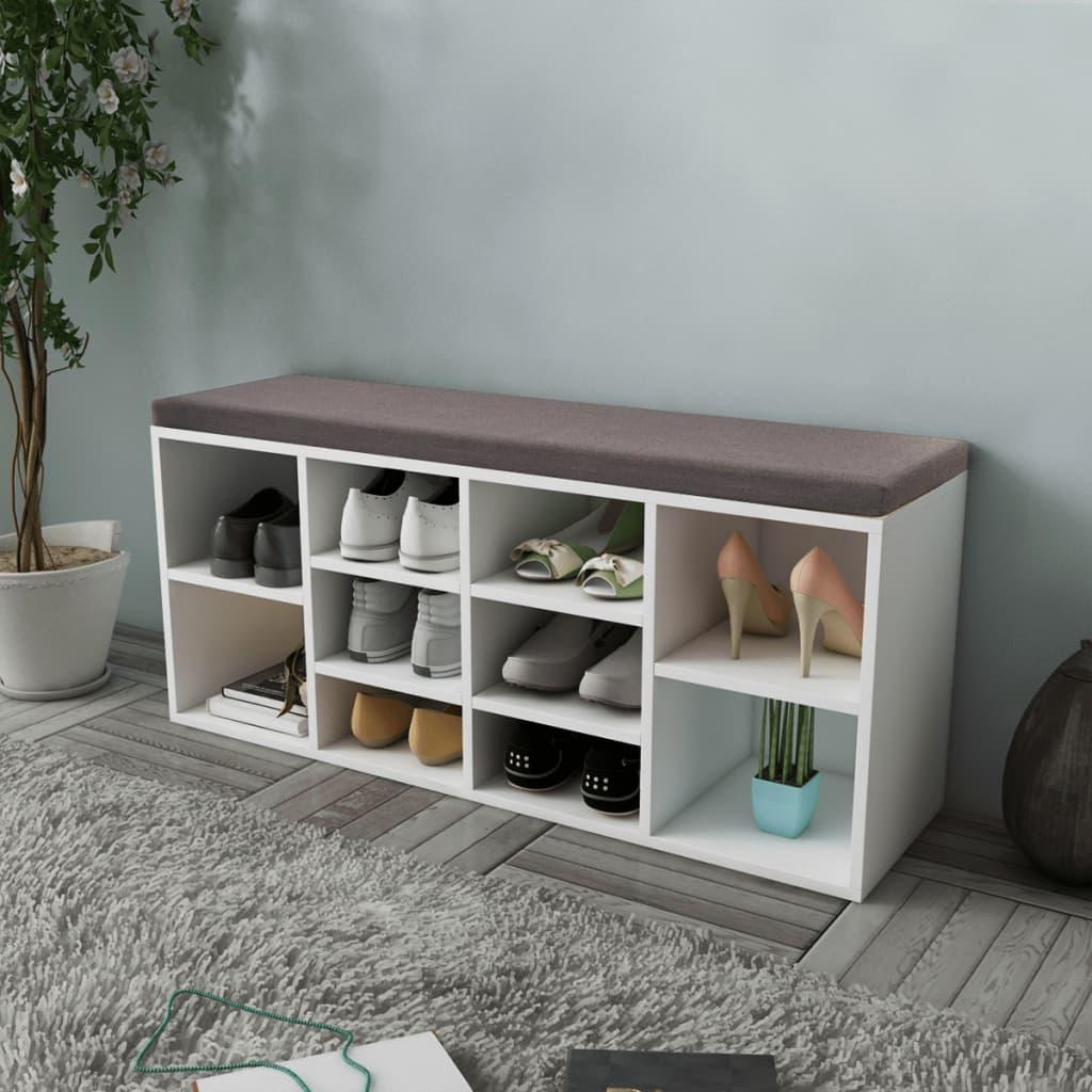 vidaXL Shoe Storage Bench 10 Compartments White Footwear Rack Shelf Seat Stool