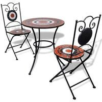 vidaXL Bistro Table 60cm Mosaic with 2 Chairs Terracotta / White Mosaic
