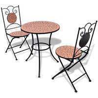vidaXL 3 Piece Bistro Set Mosaic Terracotta Outdoor Patio Dining Furniture