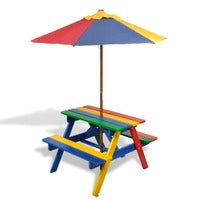 vidaXL Kids Picnic Table & Benches with Parasol Multicolours Picnic Furniture