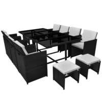 vidaXL Outdoor Dining Set 33 Pieces Black Poly Rattan Garden Table Chair Stool