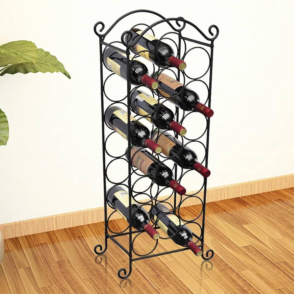 Wine Rack for 21 Bottles Metal Home Bar Cabinet Storage Organiser