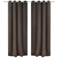 vidaXL 2x Blackout Curtains with Metal Rings Brown Window Blind Covering