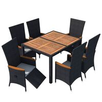 vidaXL Garden Dining Set 13 Piece Wicker Rattan Acacia XXL Table Chairs Outdoor