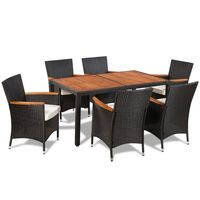 vidaXL Garden Dining Set 13 Piece Black Poly Rattan Outdoor Table and Chair