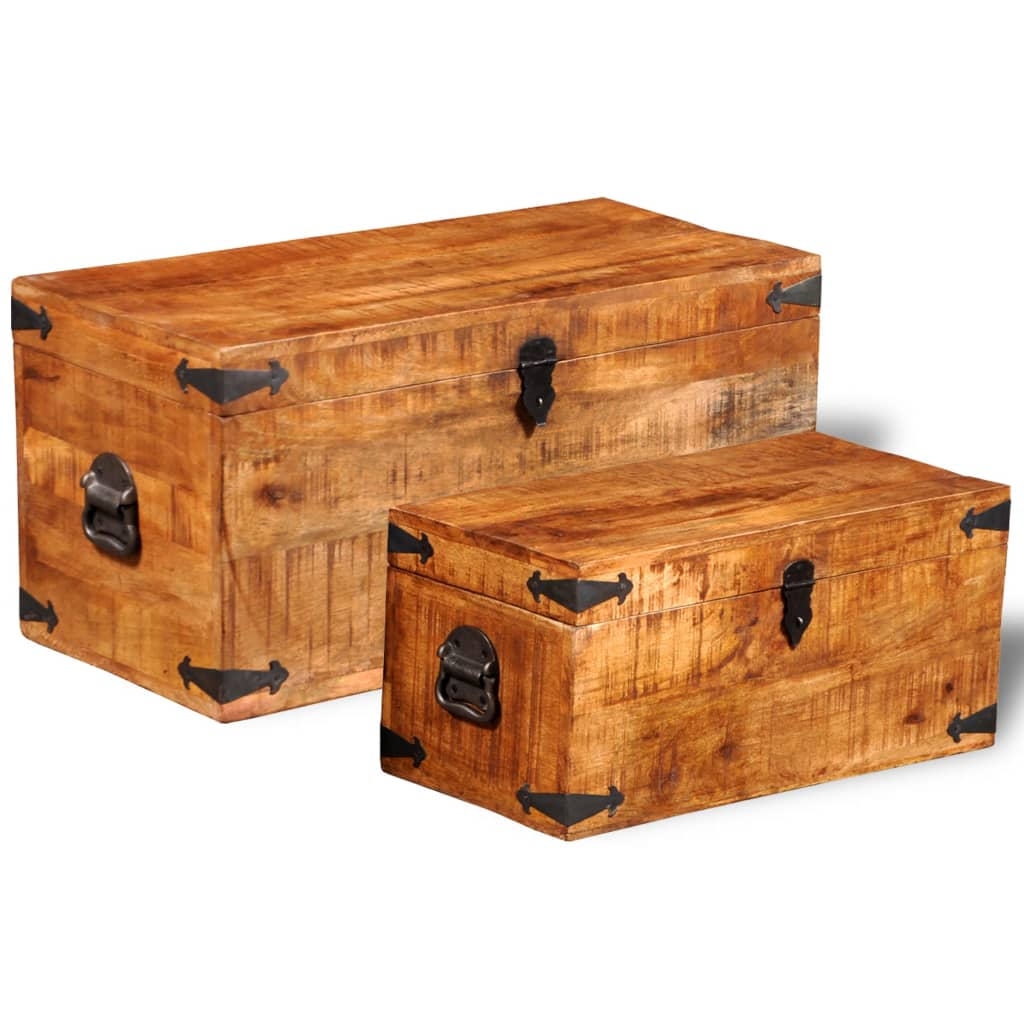 2pcs Handmade Rough Mango Timber Wooden Storage Chest Trunk Blanket Toy Box
