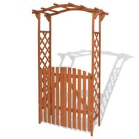 vidaXL Garden Arch with Gate Solid Wood 120x60x205cm Entryway Arbour Pergola