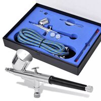 vidaXL Airbrush Set 0.2/0.3/0.5mm Nozzles Gun Air Hose Spanner Eye Dropper