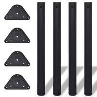 vidaXL 4x Adjustable Table Legs Black 710mm Furniture Accessory Spare Trestles