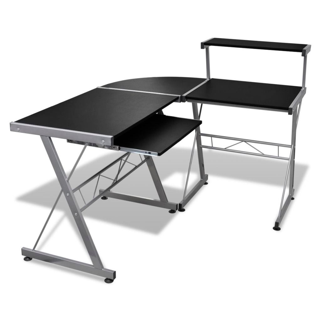 Desk Corner Workstation With Pull Out Keyboard Tray Black Office Study