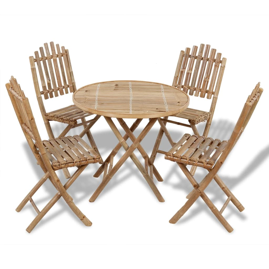 Outdoor Dining Set 5 Piece Bamboo Foldable Garden Furniture Table Chair