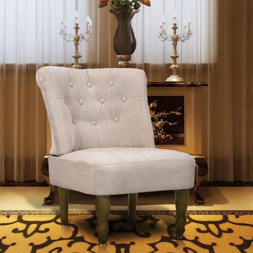 vidaXL French Chair Cream Fabric Home Sofa Seat Recliner Ottoman Furniture