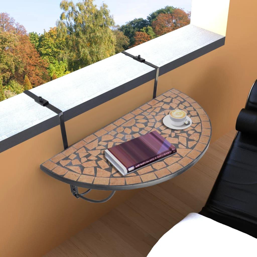 Mosaic Balcony Table Hanging Semi-circular Terracotta Drinking Holder