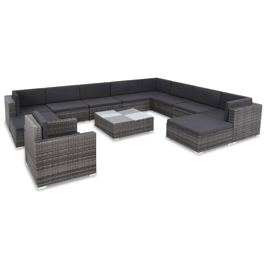 vidaXL 12 Pieces Garden Lounge Set with Cushions Poly Rattan Grey Anti-UV