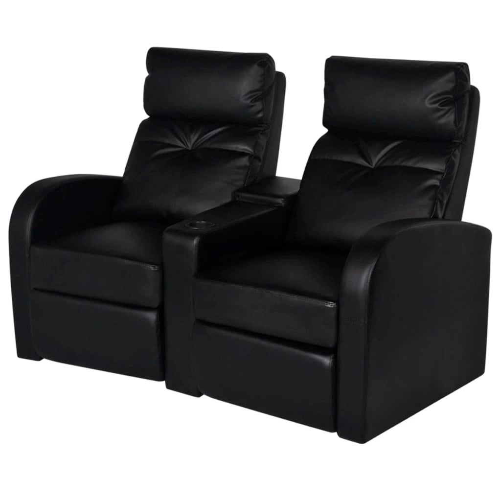 2 Seater PVC Leather Sofa Couch Home Theatre Cinema Lounge Recliner Black