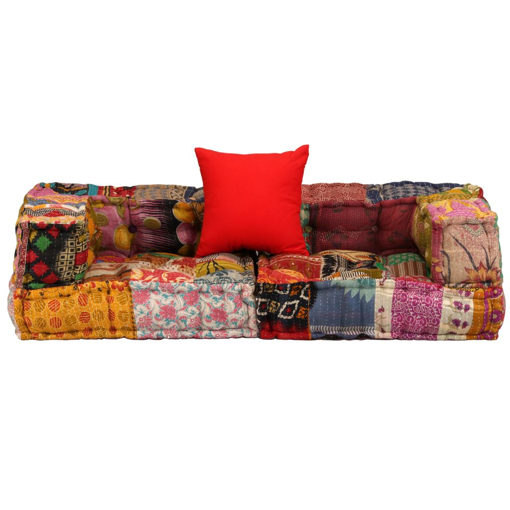 vidaXL 2 Seater Modular Pouffe Fabric Patchwork Lounge Bed ...
