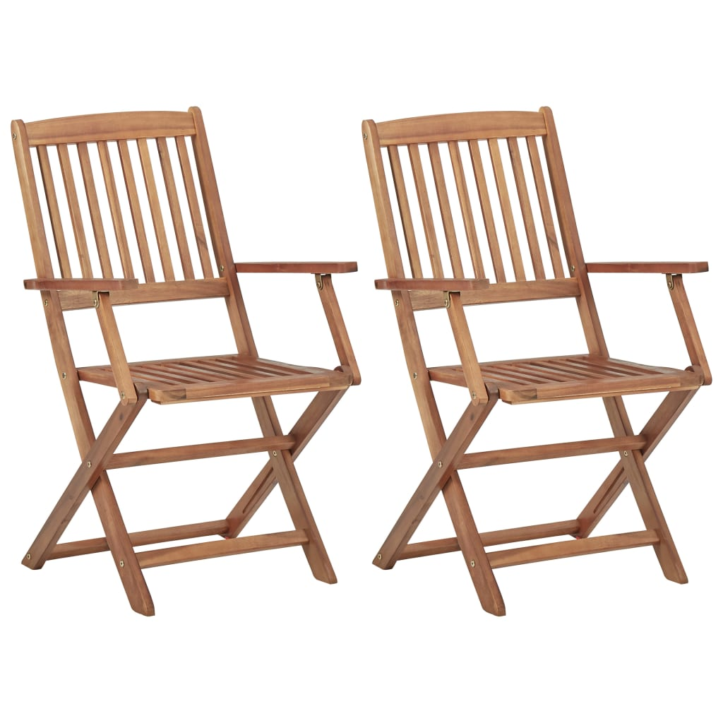 vidaXL 2x Solid Acacia Wood Folding Outdoor Chairs Garden Foldable Furniture