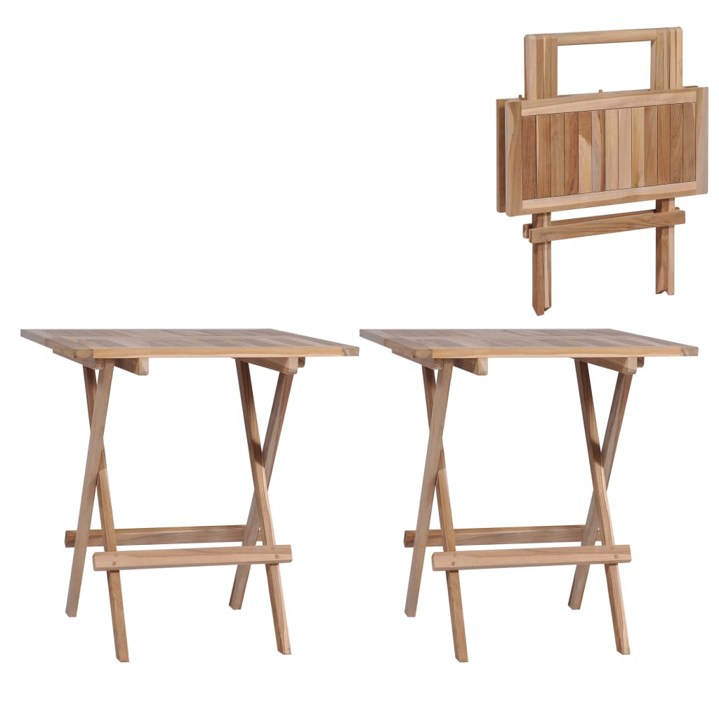 vidaXL 2x Solid Teak Wood Folding Bistro Table Weather Resistant Picnic Desk