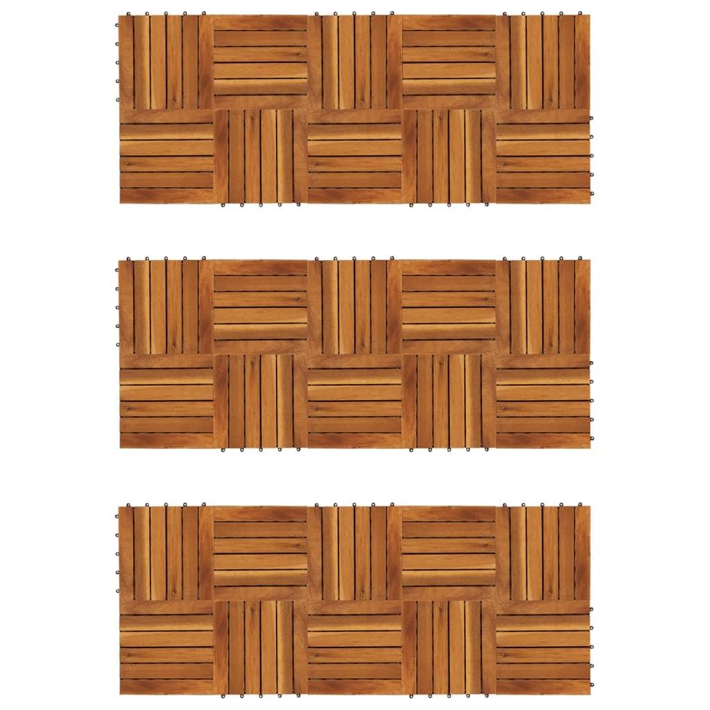 30x Decking Tiles Vertical Pattern 30x30cm Acacia Flooring Tile Floor