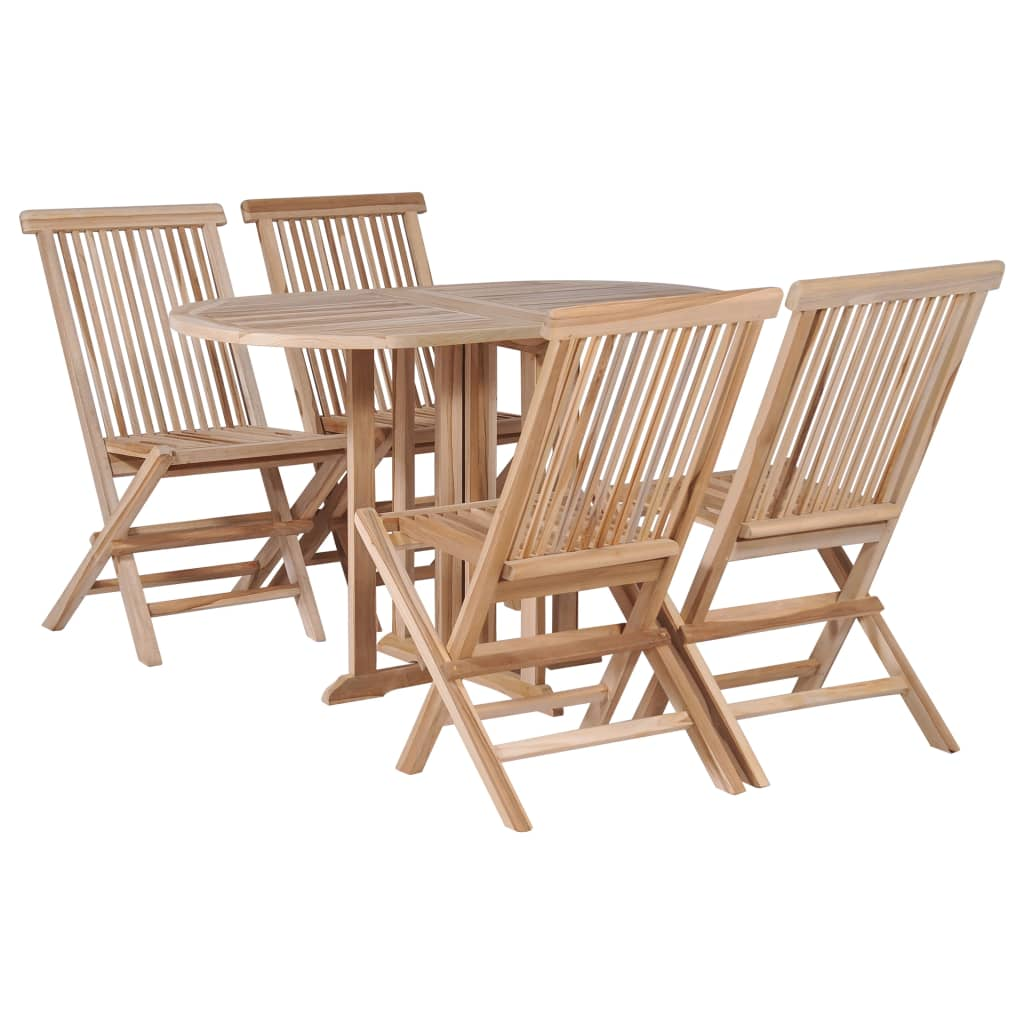 5 Pieces Solid Teak Wood Folding Outdoor Dining Set Weather Resistant