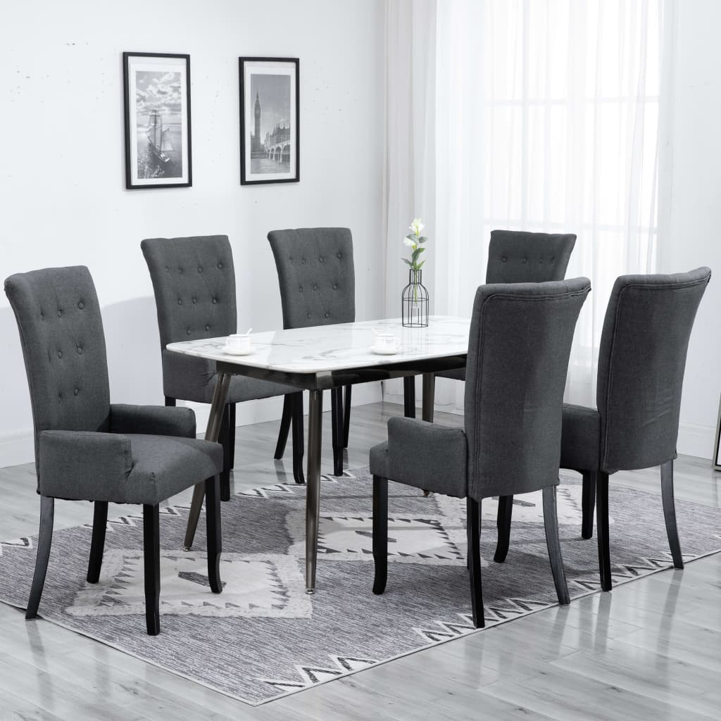 vidaXL 6x Dining Chair with Armrests Dark Grey Fabric Padded High Back Kitchen