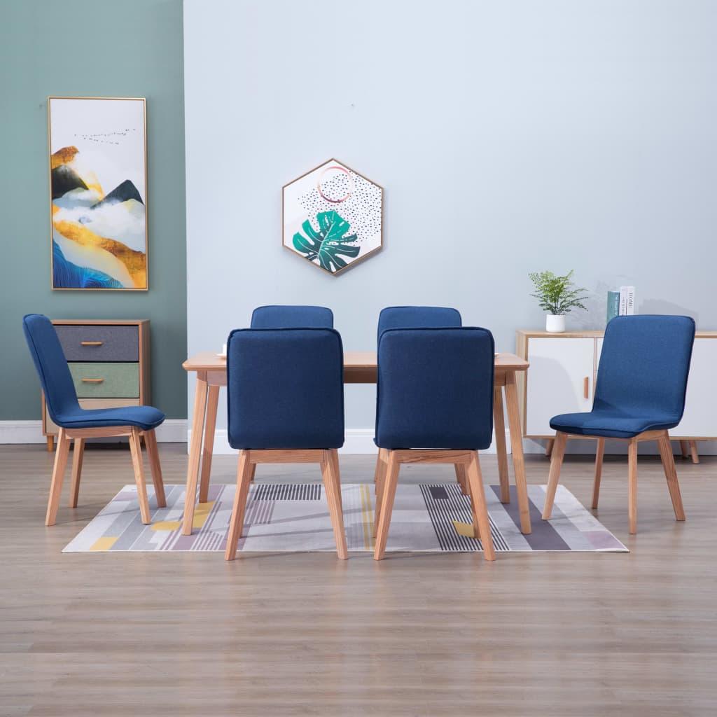 vidaXL 6x Dining Chairs Blue Fabric Kitchen Dining Room Chair Modern Seat