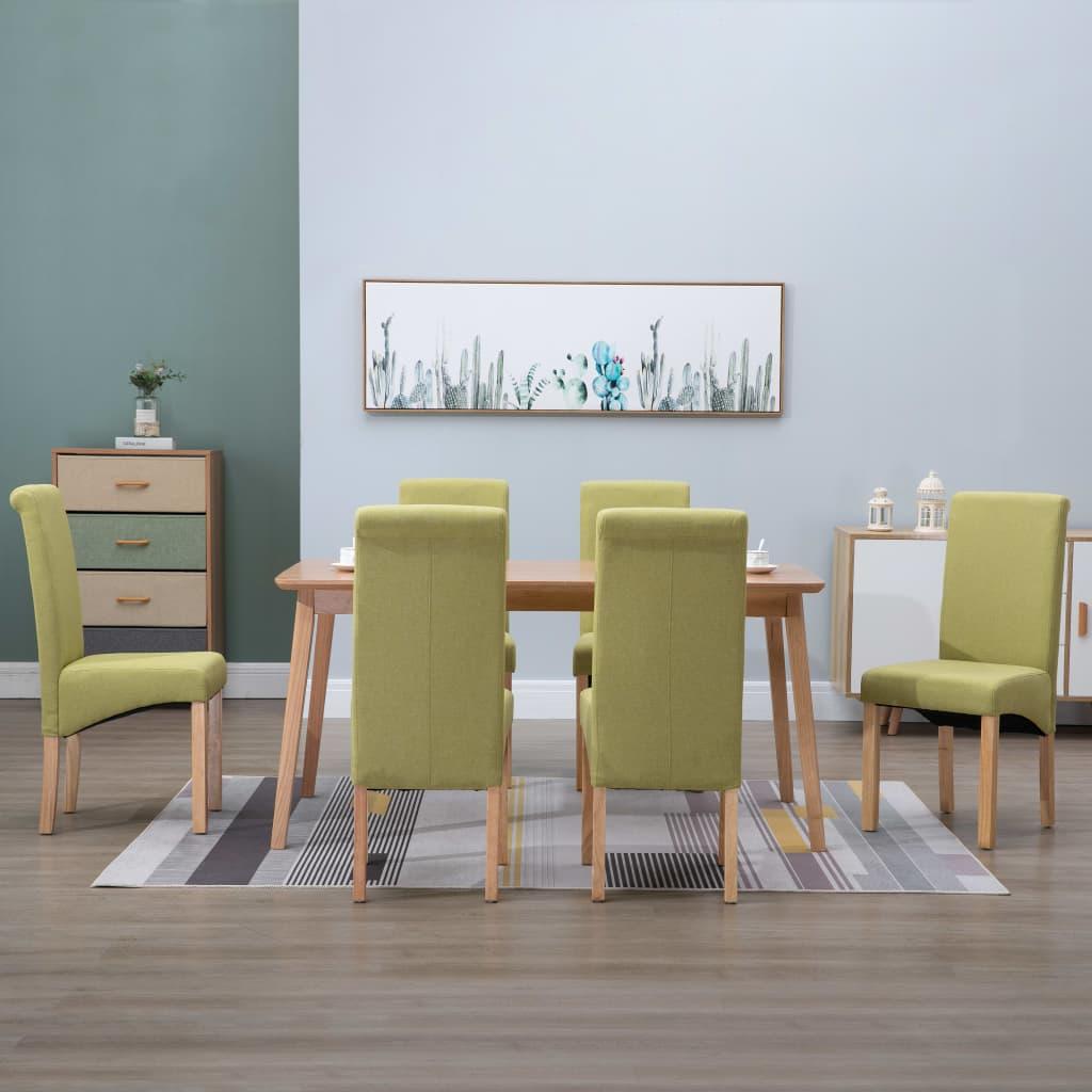 vidaXL 6x Dining Chairs Green Fabric Home Kitchen Dinner Restaurant Seating