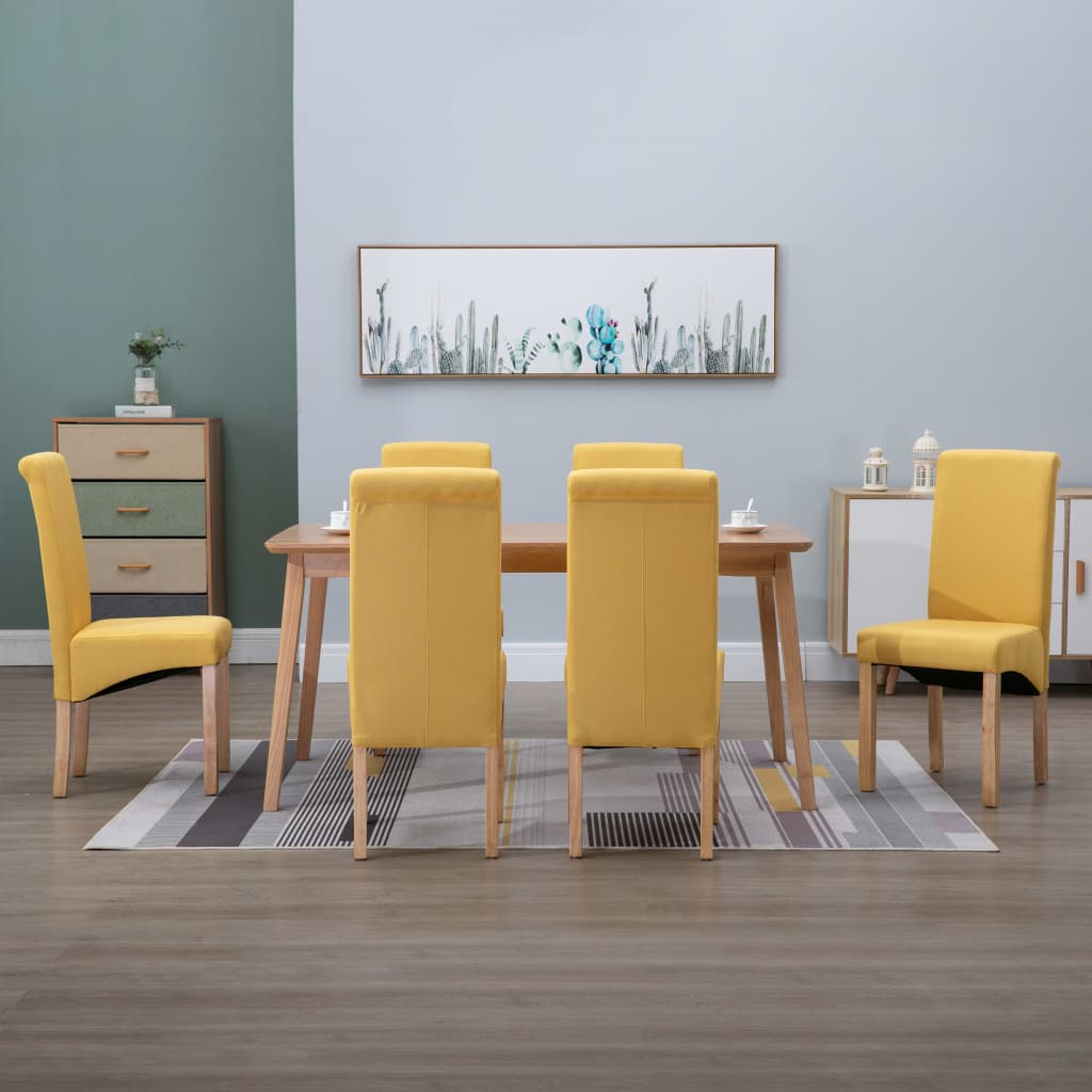 vidaXL 6x Dining Chairs Yellow Fabric Home Kitchen Dinner Restaurant Seating