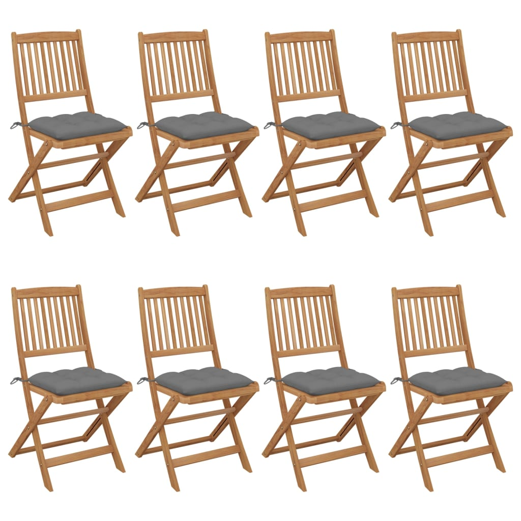 8x Solid Acacia Wood Folding Garden Chairs with Cushions Wooden Seating