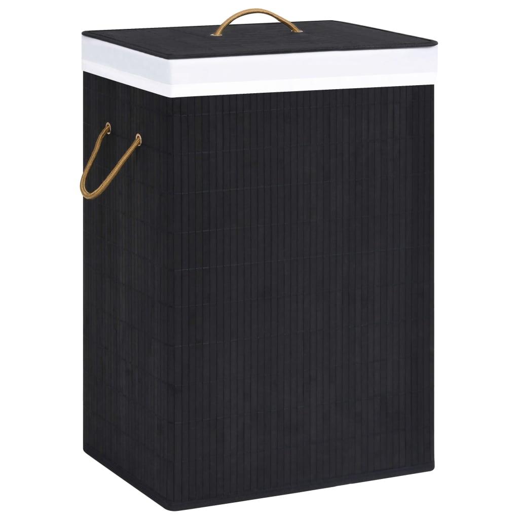 vidaXL Bamboo Laundry Basket Black Home Hamper Washing Clothes Storage Bag Bin