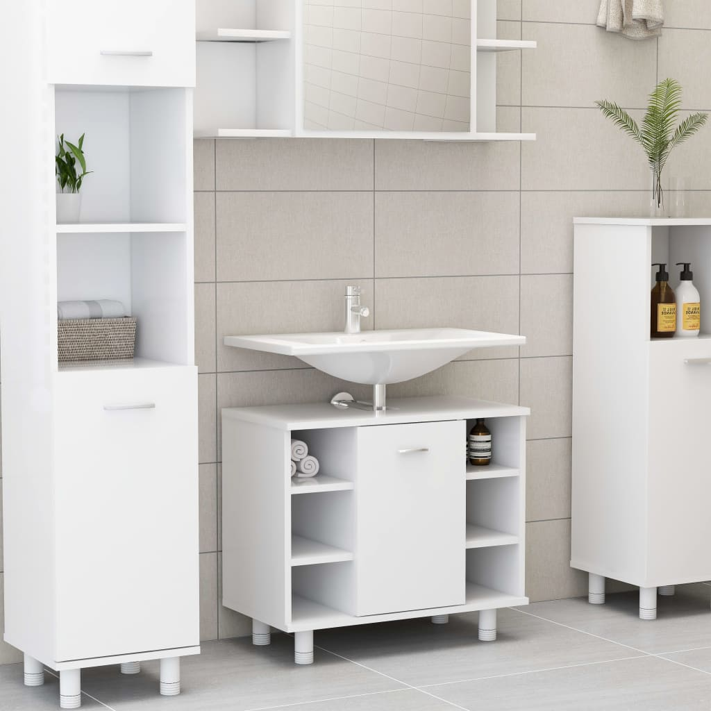 Bathroom Cabinet White 60cm Chipboard Rack Stand Cupboard Furniture