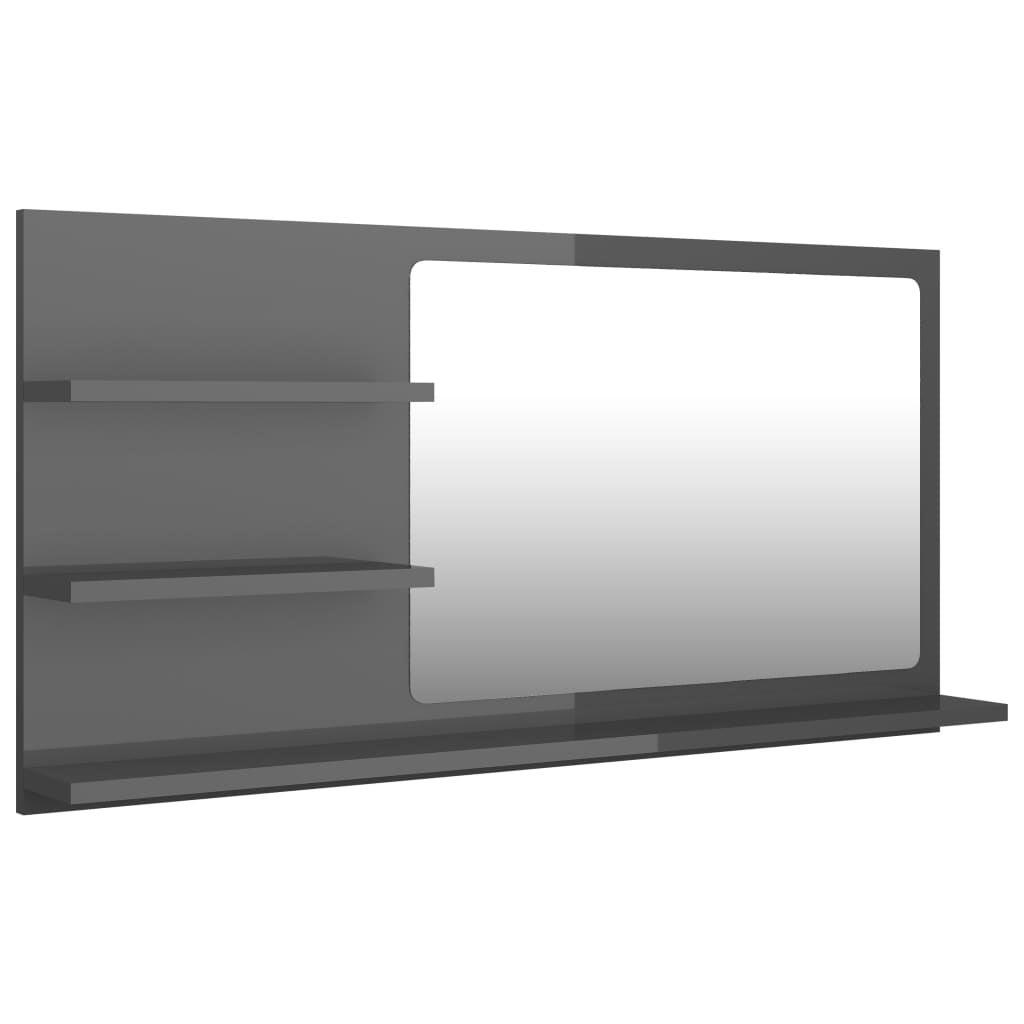 Bathroom Mirror High Gloss Grey 90cm Chipboard Decoration Furniture