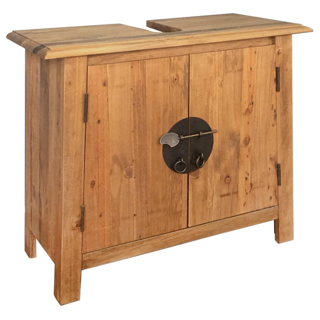 Bathroom Vanity Cabinet Solid Recycled Pinewood Freestanding Organiser