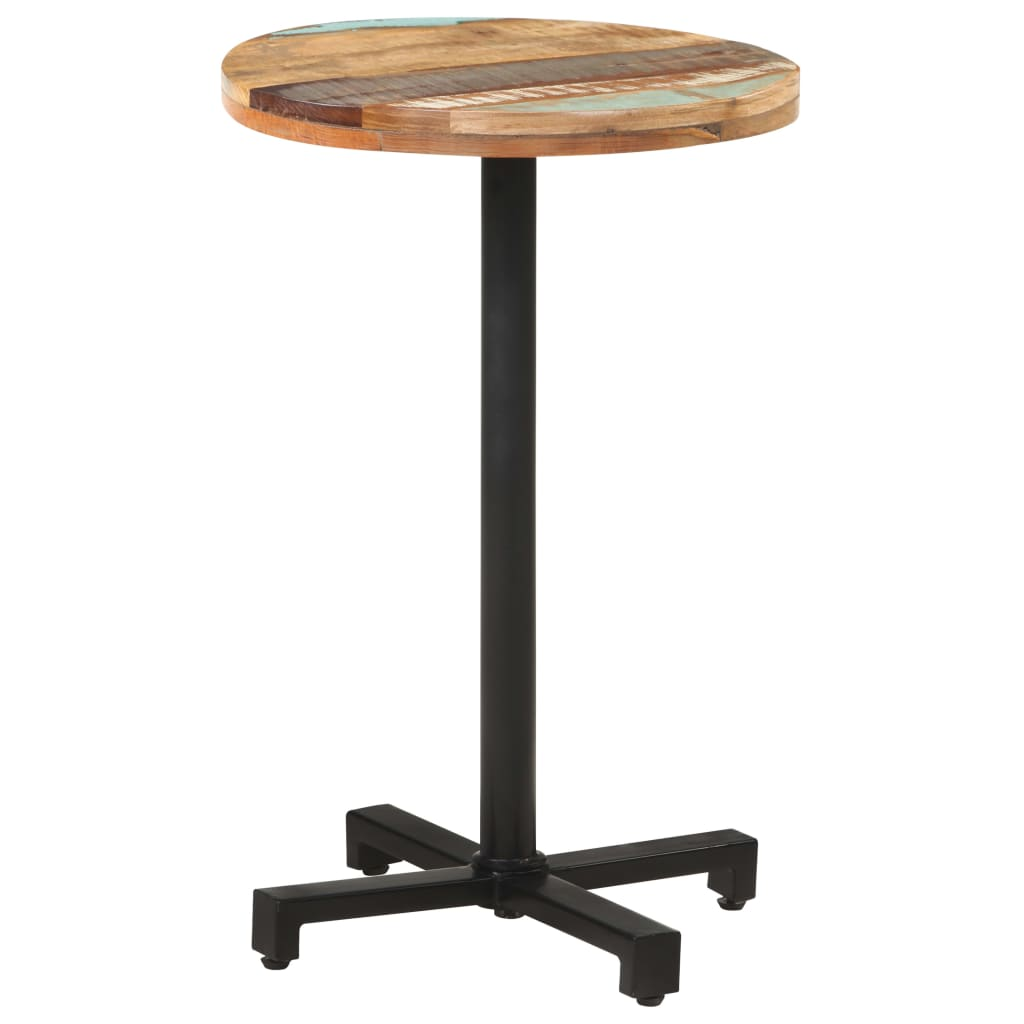 Bistro Table Round ?50x75 cm Solid Reclaimed Wood Wooden Pub Table