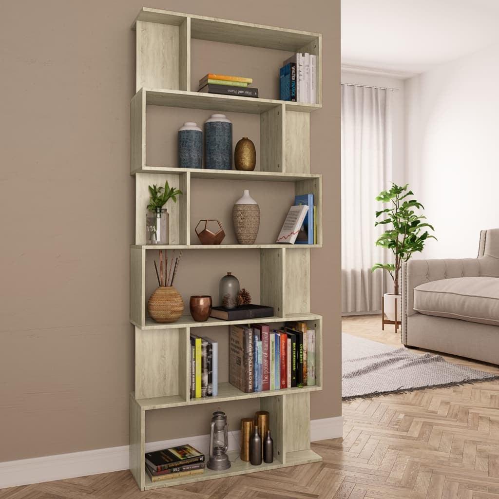 Book Cabinet/Room Divider Sonoma Oak Chipboard Home Unit Display Rack