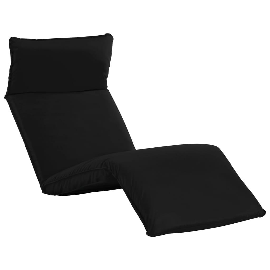 Foldable Sunlounger Oxford Fabric Black Wooden Garden Outdoor Lounger