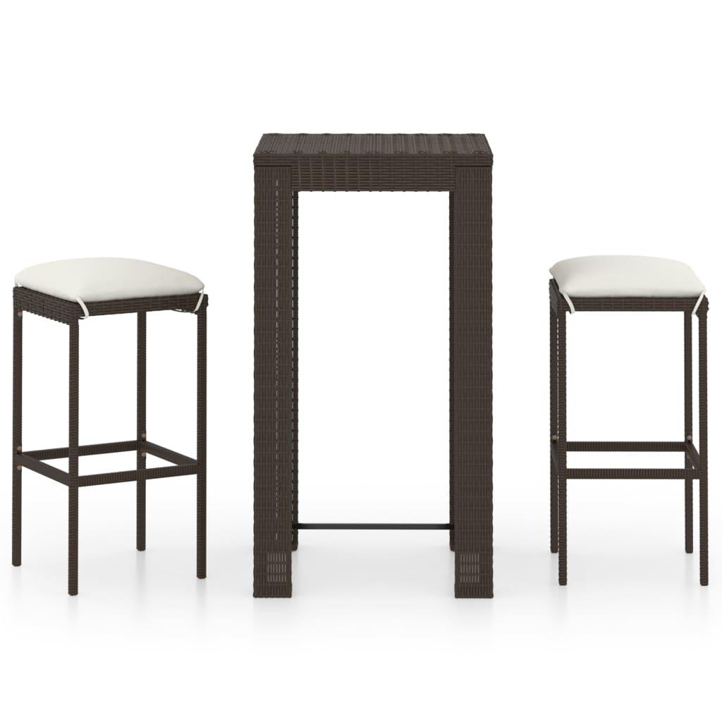 Garden Bar Set 3 Piece with Cushions Poly Rattan Brown Patio Furniture