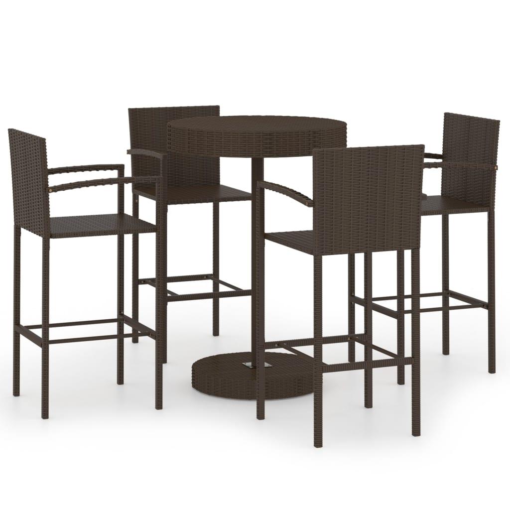 Garden Bar Set 5 Piece Poly Rattan Brown Patio Table Chair Furniture