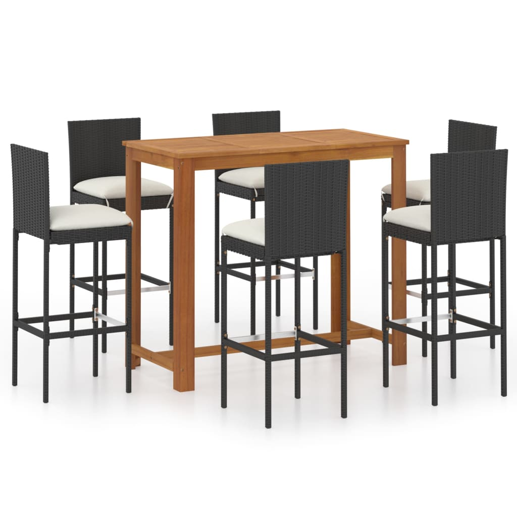 vidaXL Garden Bar Set 7 Piece with Cushions Black Table and Stool Furniture