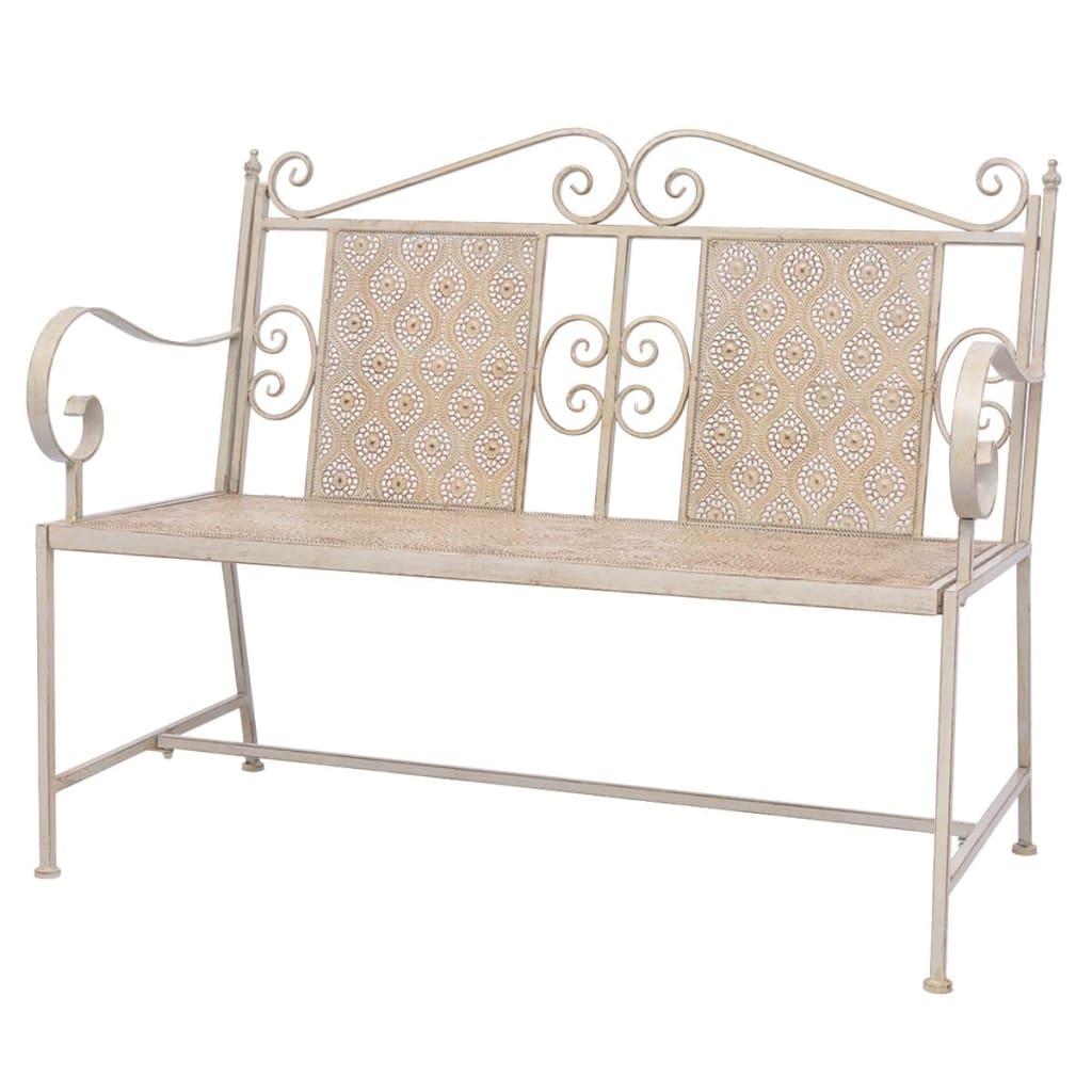 Garden Bench 115cm Steel Vintage White Bench Outdoor Seats Furniture